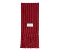 Schal aus Wollstrick mit Etikett
