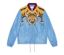 Bomberjacke aus Nylon mit Tiger-Print