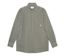 Hemd aus karierter Baumwolle und Wolle mit Patch