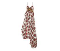 Abendkleid aus Wolle mit Schottenkaro und Stickerei