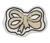 Schleifen-Applikation aus Leder mit Stickerei und Perlen