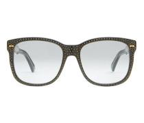 Brille mit quadratischer Fassung mit Strass