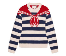 Pullover mit Bandana-Trompe-l'oeil-Intarsie