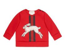 Baby Pullover mit Hasen- und Webstreifen-Print