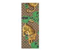 Halstuch aus Seidensablé mit Gucci Bengal-Print