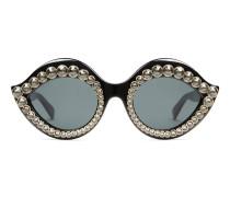 Sonnenbrille in Katzenaugenform mit Kristallen