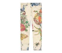 Spitz zulaufende Hose aus Denim mit Flora Snake-Print