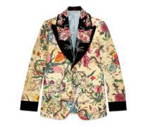 Heritage Jacke mit Flora-Schlangen-Print und abnehmbarem Revers
