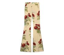 Ausgestellte Hose aus Samt mit Rosen-Print