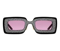 Sonnenbrille mit rechteckigem Rahmen und Kristallen