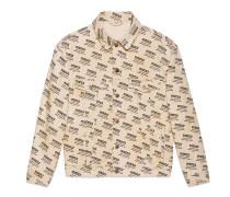 Jacke aus Denim mit Gucci Invite-Stempel-Print