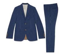 Anzug Monaco aus gestreifter Wolle, Leinen und Seide