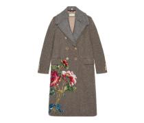Mantel aus Wolle mit Pailletten-Stickerei