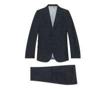 Anzug aus karierter Wolle mit körpernaher Passform und Bienen
