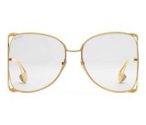 Extragroße Brille mit rundem Rahmen aus Metall