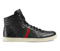 Hoher sportlicher Schnürschuh aus schwarzem Guccissima-Leder