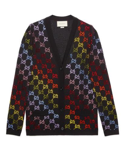 Cardigan aus Wolle mit GG Strass-Motiv