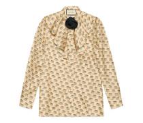 Hemd aus Seide mit Gucci Invite-Stempel-Print