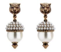 Feline-Ohrringe mit Kunstharzperlen