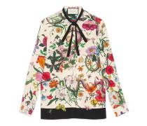 Seidenhemd mit Blumen- und Schlangen-Print