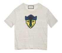 T-Shirt aus Leinenjersey mit Feline-Druck
