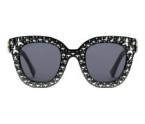 Katzenaugen-Sonnenbrille aus Azetat mit Sternen
