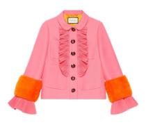 Jacke aus Wolle und Seide mit Nerzdetail
