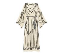 Abendkleid aus Georgette mit Trompe-l'œil-Motiv