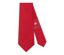 Krawatte aus Seidensablé mit Tiger-Motiv unter dem Knoten