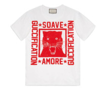 "T-Shirt mit ""Soave Amore Guccification""-Print"