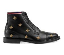 Brogue-Stiefel aus Leder mit Stickerei
