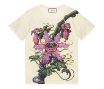 T-Shirt aus Baumwolle mit Fleischfressende Pflanzen-Print