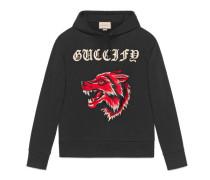 Guccify Pullover aus Baumwolle mit Wolf