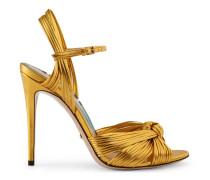 Sandale aus goldenem, metallischem Leder