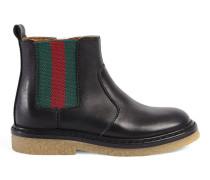 Stiefel aus Leder mit Webstreifen