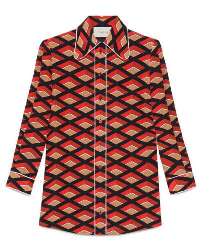 Hemdbluse aus Seide mit Rhombus Print