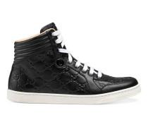 Hoher Sneaker aus Gucci Signature Leder