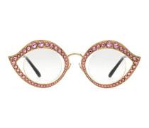 Brille in Katzenaugenform mit Kristallen