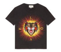 T-Shirt aus Baumwolle mit Böse Katze-Applikation