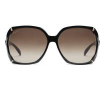 Große rechteckige Sonnenbrille mit Bambus-Effekt und Gucci Logo an den Bügeln