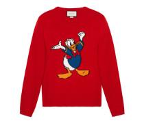 Pullover aus Wolle mit Donald Duck-Intarsie
