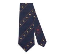 Krawatte aus Seidensablé mit Bienen-Motiv und Webstreifen