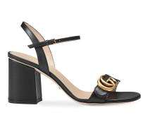 Sandale mit mittelhohem Absatz aus Leder