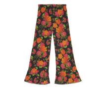 Hose mit Rüschendetail und Acid Blooms Print