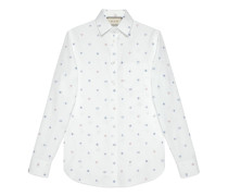 Oxford-Hemd aus Fil Coupé mit Symbole-Motiv
