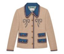 Jacke aus Wolle mit Kristall-Schleifen