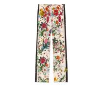 Pyjamahose aus Seide mit Blumen- und Schlangen-Print