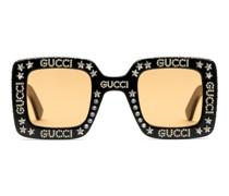 Sonnenbrille mit eckigem Rahmen und Kristallen