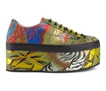 Low-Top-Sneaker aus Tiger-Jacquard mit Plateau