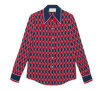 Hemd aus Seide mit Gucci Rhombus-Print